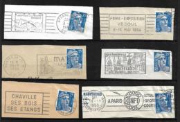 FRANCE 1951  Lot 6 Timbres N°  886 +  Flamme Sur Fragment - Autres