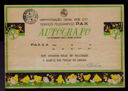 Faune Animals Chicken-litle Cover Postal Stationery Telegramme AUTÓGRAFO PAX 2A Portugal EASTER Fêtes Christ's #8125 - Ostern