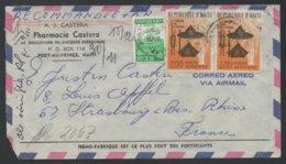 HAITI - PORT AU PRINCE / 1966 LETTRE RECOMMANDEE  AR PAR AVION POUR LA FRANCE - STRASBOURG (ref LE519) - Haïti