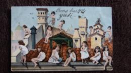 CPA BEBES FILLE FILLETTE CHAT POUPEE SUR TOIT NU PUDIQUE 1905 - Cartes Humoristiques