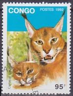 Timbre Oblitéré N° 1329(Michel) Congo 1992 - Félins - Afgestempeld
