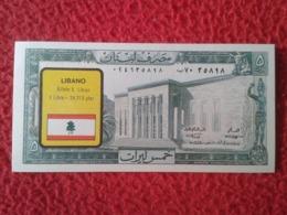 SPAIN ANTIGUO CROMO RARE OLD COLLECTIBLE CARD 1974 BILLETES DEL MUNDO LEBANON LIBANO LIBAN ASIA Nº 146 SIN VALOR LEGAL - Sin Clasificación
