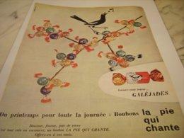 ANCIENNE PUBLICITE BONBON LA PIE QUI CHANTE 1960 - Publicités