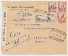 Censored Registered Cover Spain - Netherlands 1937 - Civil War - 1931-50 Brieven