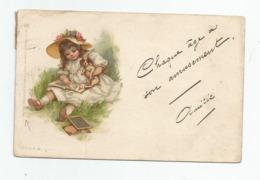Cpa Fantaisie Tuck Raphael Fillette Lisant Livre école 1903 Ardoise - Tuck, Raphael