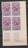 Mali - 1960 - N°Yv. 9 - Coopération - Bloc De 4 Coin Daté - Non Dentelé / Imperf. - Neuf Luxe ** / MNH / Postfrisch - Mali (1959-...)