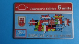Gibraltar Télécarte Gibraltar In The EEC 1973-1993 With Map § Flags Of Europe, Used - Gibraltar
