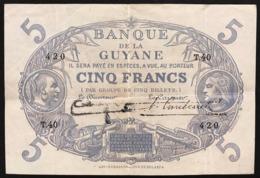 BANQUE DE LA GUYANE Guyane 5 Francs Pick#1d Lotto.2845 - Guyana Francese