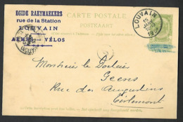 1904 Louvain Leuven Naar Thienen Tienen Tirlemont  Armes Vélos Cycling Vélo Egide Raeymaekers   Geens  ( Klass Heuroud ) - Stamped Stationery