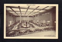 """Bateau Paquebot  / French Line,Cgie Gén. Transatlantique """" S/S Champlain """" Salle à Manger ( Verso Pub Deauville ) - Paquebote"""