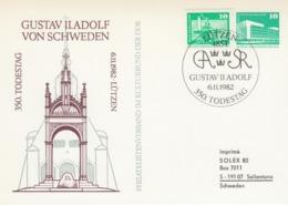 DDR 1982 - King Gustav II Adolf Of Sweden, 350th Death Anniversary - Private Stationery CTO Lützen 6.11.1982 - Case Reali