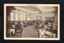 """Bateau Paquebot  / French Line,Cgie Gén. Transatlantique """" S/S Champlain """" Le Grand Salon ( Verso Pub Deauville ) - Paquebote"""