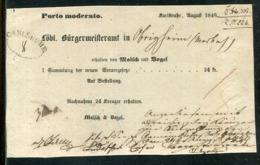 "Baden / 1849 / Postschein Ortsdruck KARLSRUHE, Oval-Stempel CARLSRUHE, ""Porto Moderato"" (24681) - [1] ...-1849 Precursores"