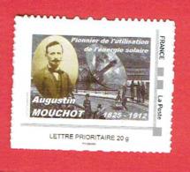 FRANCE TIMBRE NEUF AUGUSTE MOUCHOT PIONNIER DE L ENERGIE SOLAIRE 2012 SEMUR EN AUXOIS 1825 1912 - Environment & Climate Protection