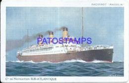 119944 SHIP BARCO PAQUEBOT MASSILIA Cie DE NAVIGATION SUD ATLANTIQUE POSTAL POSTCARD - Cartoline