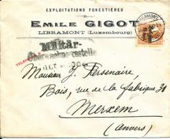 BELGIUM  WW1 COVER FROM LIBRAMONT TO MERXEM - WW I