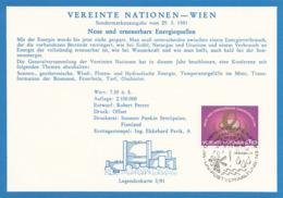 VEREINTE NATIONEN WIEN 1981 - 7,5 S + Sonderstempel Auf Karte - Wien - Internationales Zentrum