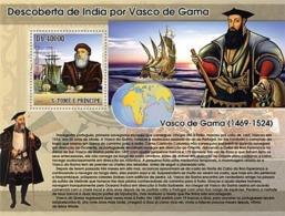 2007 Santo Tome Y Principe Personajes Vasco De Gama Transporte Barcos - Geschichte