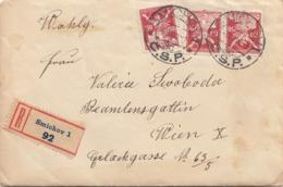 C.S.P. R-Siegel-Brief 1922 - 3 Fach Frankierung Auf Brief Mit Inhalt Gel.v. Smichov > Wien - Briefe U. Dokumente