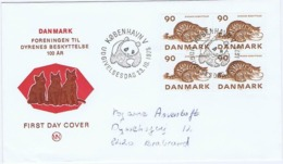 Denmark; 1975; Animal Protection; Cat; Block Of 4. Panda Postmark - FDC