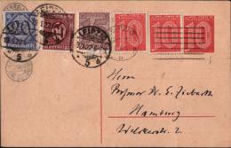 ! 1 Ganzsache Dienstpost DP1 , 1922 Aus Leipzig, ärchäologische Abt. Der Universität Gelaufen Nach Hamburg - Dienstpost