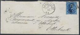 "Briefje Met Zegel N° 14 A Van La Louviere 26 Sept 65 Naar Etterbeek  +postbus ""T"" - 1863-1864 Médaillons (13/16)"