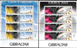 1995 Gibilterra Gibraltar EUROPA CEPT EUROPE 4 Serie Di 4v. MNH** In 2 Minifogli 2 Minisheets - Europa-CEPT