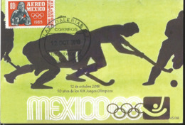 J) 2018 MEXICO, HOCKEY, 50 YEARS OF THE OLYMPIC GAMES, POSTCARD - Mexico
