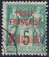 Madagascar 1895 Protectorat Francais Yv 14, Mi 14, Oblitéré O, Aminci Au Dos - Usati
