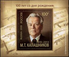 2019-2542 Russia S/S Mikhail Kalashnikov,designer Of Small Arms,doctor Of Technical Sciences, Lieutenant-General.Hero ** - 1992-.... Federatie
