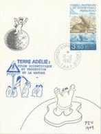 TAAF - Dumont D'Urville-T.Adélie: Carte Illustrée PE Victor Avec Timbre N°159 Otarie à Fourrure - 12/02/1992 - Storia Postale