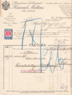 RECHNUNG Der Fa. HEINRICH MATTONI MINERALWASSER 1913, 10 H Stempelmarke, A4 Format, Gelocht Und Gefaltet - Autriche