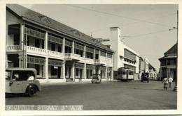 Indonesia, JAVA SOERABAIA, Sociëteitstraat, Car Tram (1940s) RPPC Postcard - Indonesië