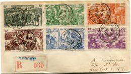 COTE FRANCAISE DES SOMALIS LETTRE RECOMMANDEE DEPART DJIBOUTI-AVION 30-8-1950 POUR LES ETATS-UNIS - Côte Française Des Somalis (1894-1967)
