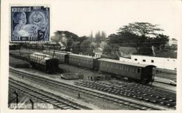 Indonesia, JAVA SOERABAIA, Semut Railway Station (1937) RPPC Postcard - Indonesië