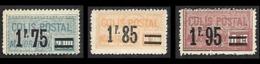 COLIS 1926 - Majoration - YT  41 - 42 - 43  - Nsg - Spoorwegzegels