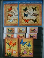 St Vincent And Grenadines 2001 Butterflies Insects Set+2klb+2s/s MNH - Schmetterlinge
