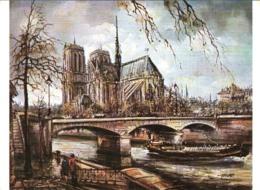CPM 75 Paris - Cathédrale Notre-Dame, L'Abside TBE Tableau Par Brunet, Grande CPM - Notre Dame De Paris