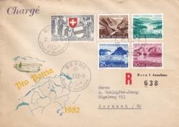 Pro Patria 1952. Chargé, 1952 Französischer Stempel  Von Bern Nach Dornach Mit Zu: Satz B 56 - B 60 / Mi: 570 - 574 - FDC