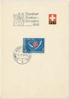Faltblatt Mit Automobilpost SS Zürcher Kanbenschiessen 1958 - Marcophilie