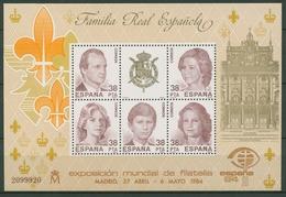 Spanien 1984 ESPANA'84 Madrid Königliche Familie Block 27 Postfrisch (C91694) - Blocs & Feuillets