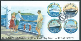 Pitcairn Islands 2001 Cruise Ships Set Of 4 On FDC Official Unaddressed - Stamps