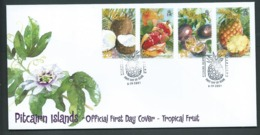 Pitcairn Islands 2001 Tropical Fruit Set Of 4 On FDC Official Unaddressed - Stamps
