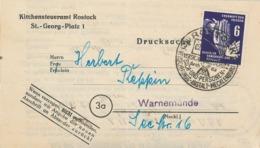 Rostock 1951 Sach- & Personen-Versicherungs-Anstalt Mecklenburg - Erkämpft Den Frieden - Kirchensteueramt - [6] République Démocratique