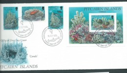 Pitcairn Islands 1994 Corals Set Of 3 & Miniature Sheet On FDC Official Unaddressed - Stamps