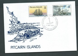 Pitcairn Islands 1990 Ships 20c & 90c Later Issued Booklet Stamps Set 2 On FDC Official Unaddressed - Stamps