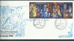 Pitcairn Islands 1988 Christmas Strip Of 4 On FDC Official Unaddressed - Stamps