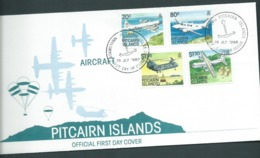 Pitcairn Islands 1989 Aircraft Set Of 4 On FDC Official Unaddressed - Stamps