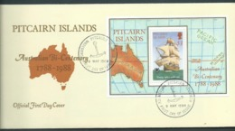 Pitcairn Islands 1988 Australia Bicentenary Ship Miniature Sheet On FDC Official Unaddressed - Stamps