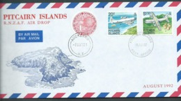 Pitcairn Islands 1992 RNZAF Air Drop Combination Cover With 20c & $1.30 Plane & $1 NZ Kiwi Adhesive - Stamps